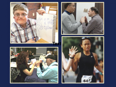 Collage of 4 images of deaf-blind people. 1st image: a young man with glasses smiling at the camera. 2nd image: an older gentleman receiving tactile sign language from a woman, 3rd a deaf-blind man receiving tactile sign language with an object symbol calendar in the background, 4th image: a woman running a race with her hand on the hand of a guide next to her.
