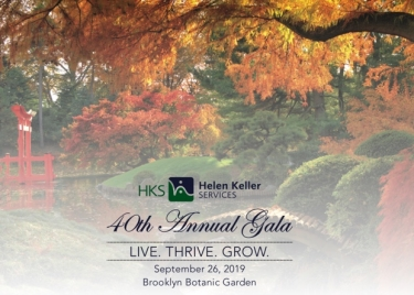 Image description: Faded picture of Japanese Garden at Brooklyn Botanic Garden with HKS logo, 40th annual gala, September 26, 2019. Photo by Steven Severinghaus