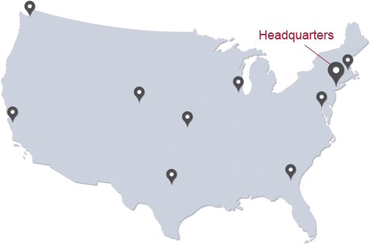 Map of United States with pin points on all locations