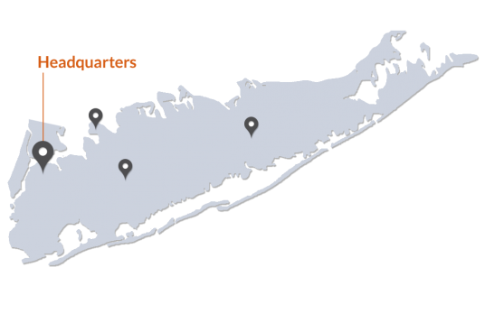Map of Long Island highlighting HKSB Locations