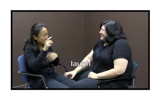 Two women are seated facing each other. One woman is signing and the other is providing the Haptic signal for laugh on her knee.  Both women are smiling.
