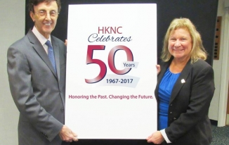Helen Keller Services President Joseph Bruno and Heller Keller National Center Executive Director Susan Ruzenski celebrate HKNC's 50th Anniversary.