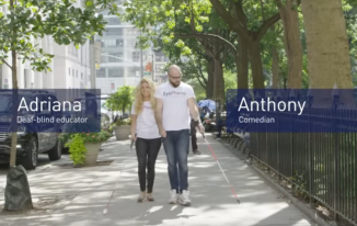 We sent Adriana (a deaf-blind educator at HKNC) and Anthony (a comedian/pitchman) to play a prank on some sighted and hearing New Yorkers to remind them to look up from their phones and be more present in the moment.