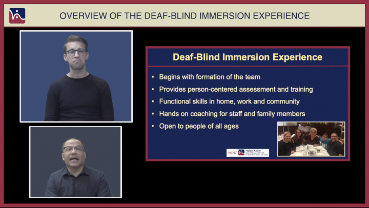 Deaf-Blind Immersion Experience video screen shot. Image of two men on the left side of the screen.