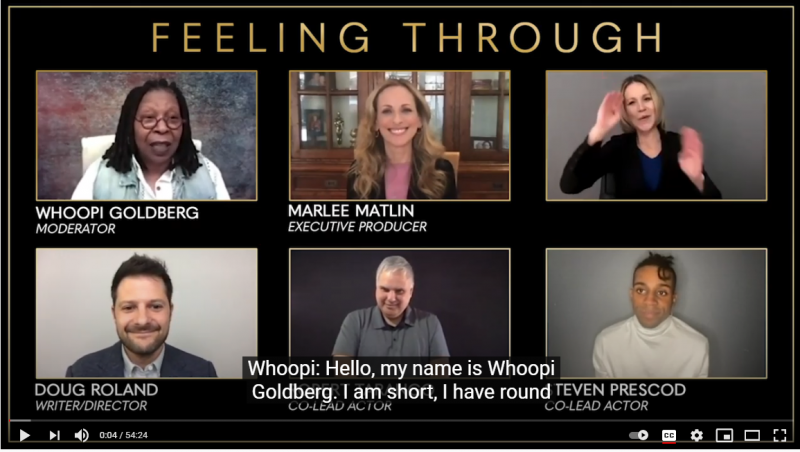 Screenshot of Feeling Through Panel with Whoopi Goldberg, Marlee Matlin and others