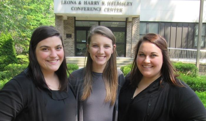 Three job coaches from the University of North Carolina – Greensboro assisted with this summer's SYVP L-R: Elaina Gasparino, Samantha Ponsolle and Emily Katella