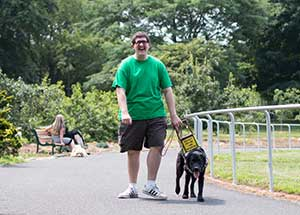 Man walks on track with guide dog