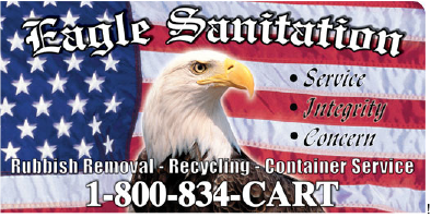 An American Flag with an eagle over it and the words Eagle Sanitation.